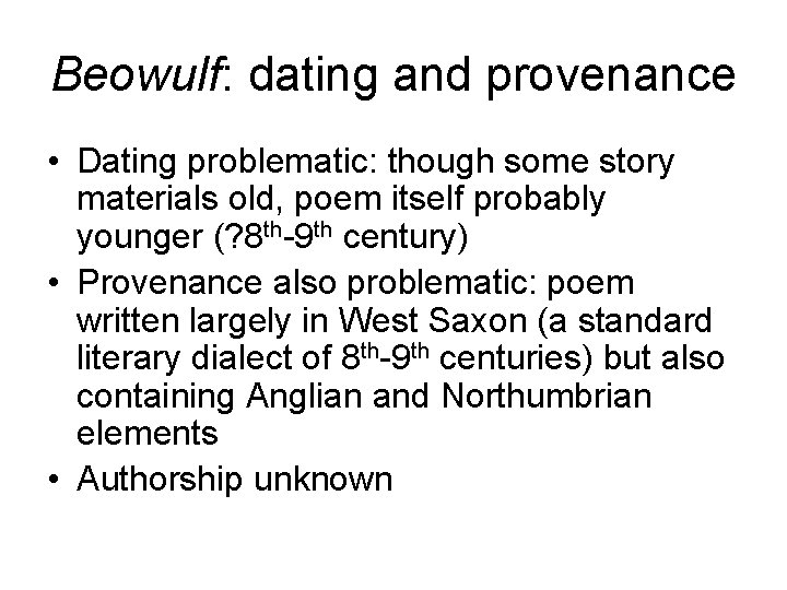 beowulf dating