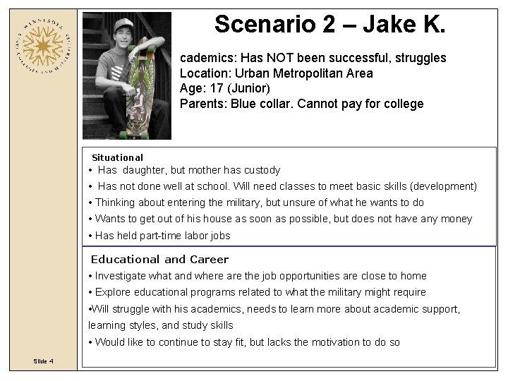 Scenario 2 – Jake K. cademics: Has NOT been successful, struggles Location: Urban Metropolitan