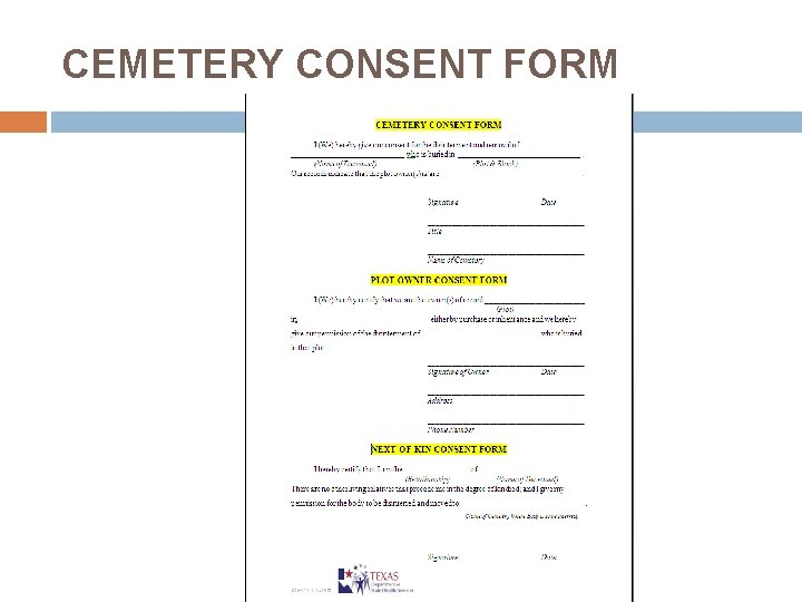 CEMETERY CONSENT FORM