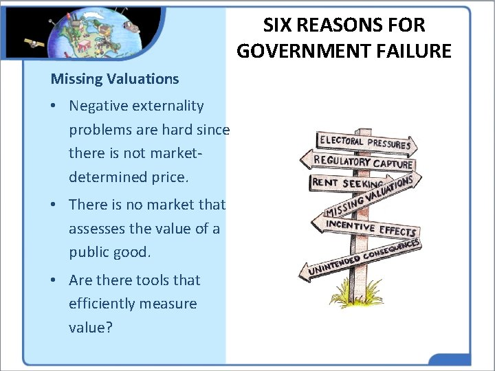 SIX REASONS FOR GOVERNMENT FAILURE Missing Valuations • Negative externality problems are hard since