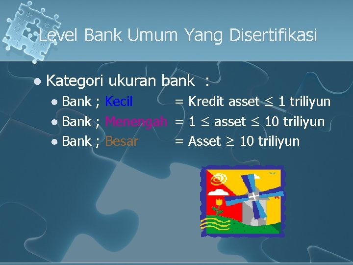 Level Bank Umum Yang Disertifikasi l Kategori ukuran bank : Bank ; Kecil =