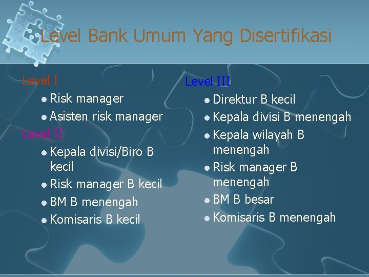 Level Bank Umum Yang Disertifikasi Level I l Risk manager l Asisten risk manager