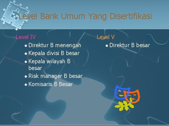 Level Bank Umum Yang Disertifikasi Level IV l Direktur B menengah l Kepala divisi