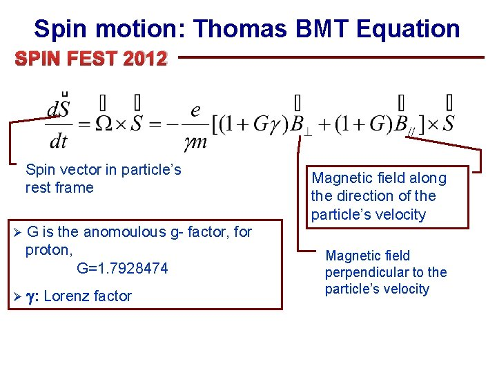 Spin motion: Thomas BMT Equation SPIN FEST 2012 Spin vector in particle's rest frame