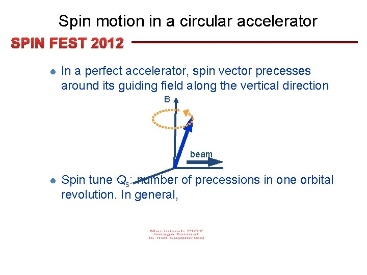 Spin motion in a circular accelerator SPIN FEST 2012 l In a perfect accelerator,