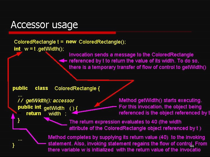 Accessor usage Colored. Rectangle t = new Colored. Rectangle(); int w = t. get.