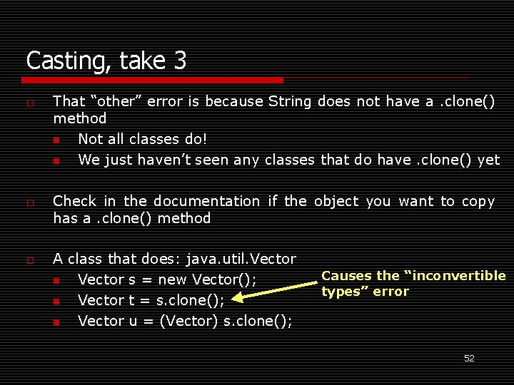 """Casting, take 3 o o o That """"other"""" error is because String does not"""