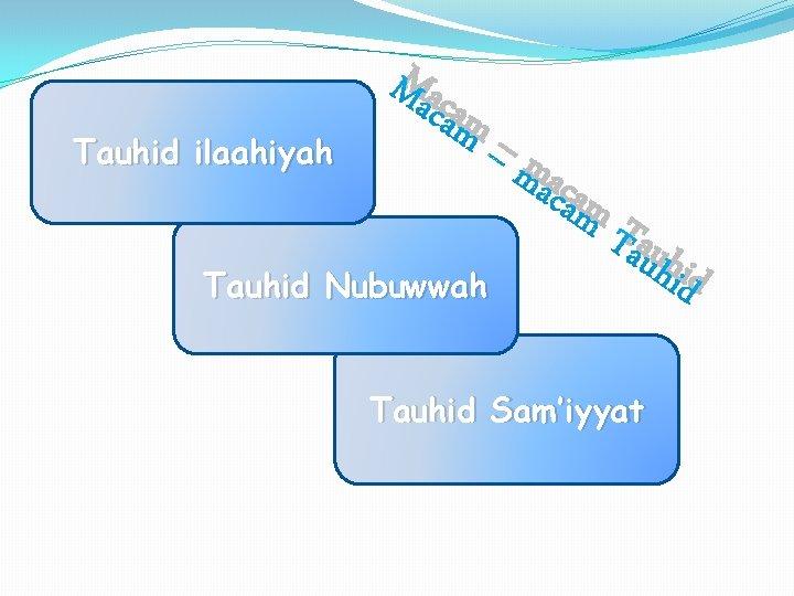 Tauhid ilaahiyah Ma cam Tauhid Nubuwwah –m aca m Tauhid Sam'iyyat hid