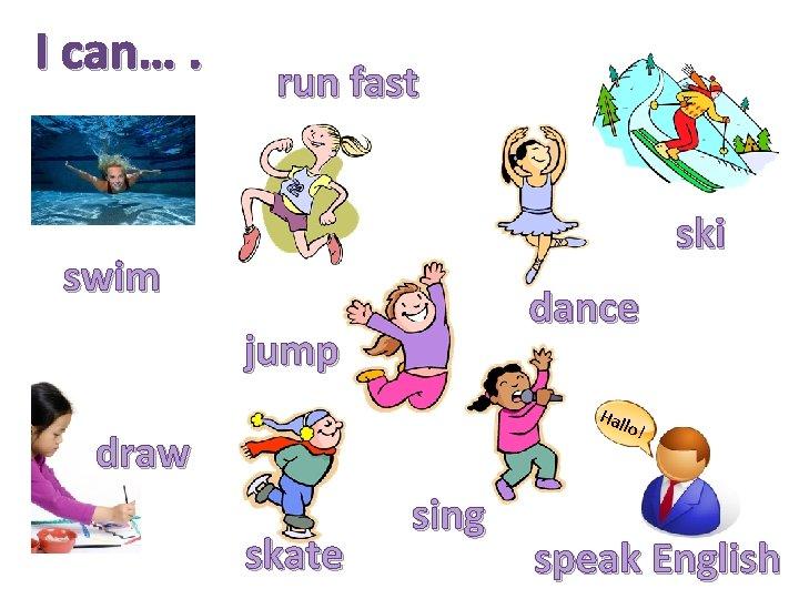 I can…. run fast ski swim dance jump Hal lo! draw skate sing speak