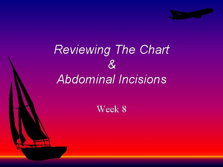 Reviewing The Chart & Abdominal Incisions Week 8
