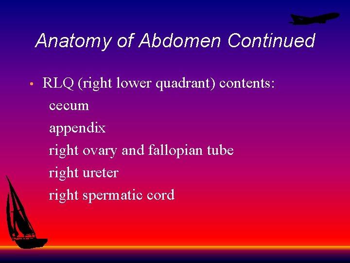 Anatomy of Abdomen Continued RLQ (right lower quadrant) contents: cecum appendix right ovary and