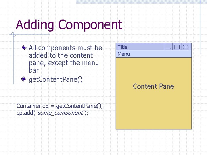 Adding Component All components must be added to the content pane, except the menu