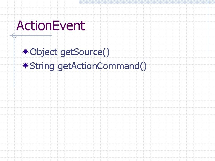 Action. Event Object get. Source() String get. Action. Command()