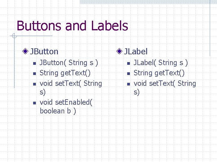 Buttons and Labels JButton n n JButton( String s ) String get. Text() void