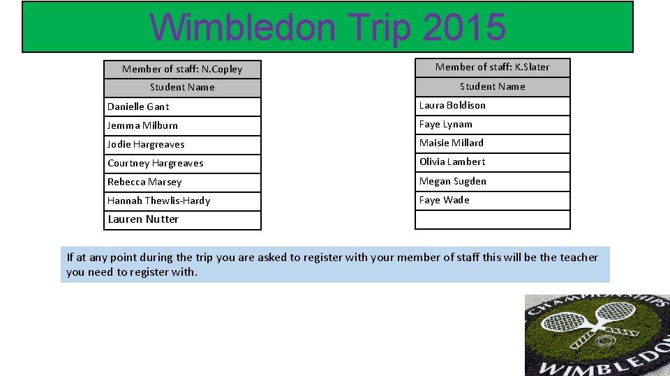 Wimbledon Trip 2015 Member of staff: N. Copley Member of staff: K. Slater Student