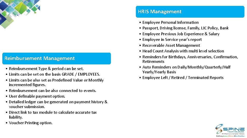 HRIS Management Reimbursement Management • Reimbursement Type & period can be set. • Limits