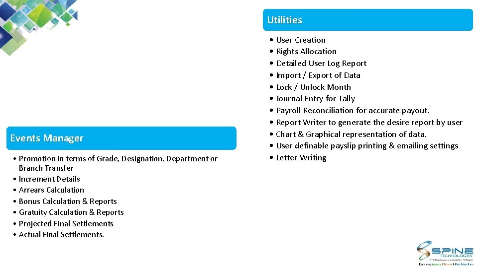 Utilities Events Manager • Promotion in terms of Grade, Designation, Department or Branch Transfer