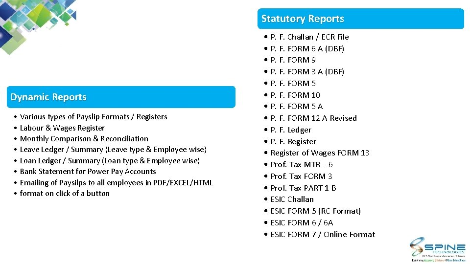 Statutory Reports Dynamic Reports • Various types of Payslip Formats / Registers • Labour