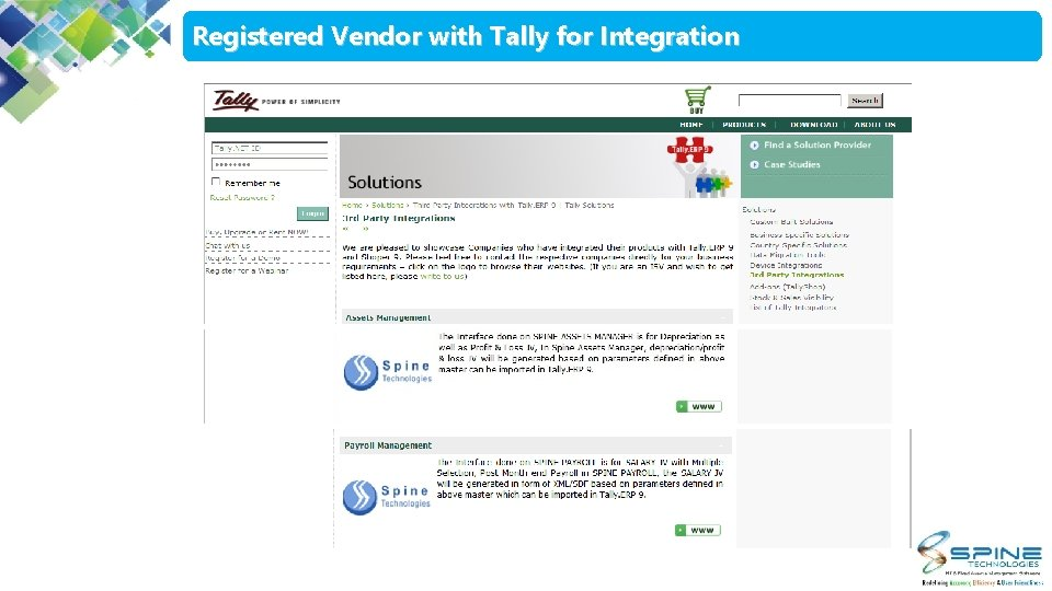 Registered Vendor with Tally for Integration