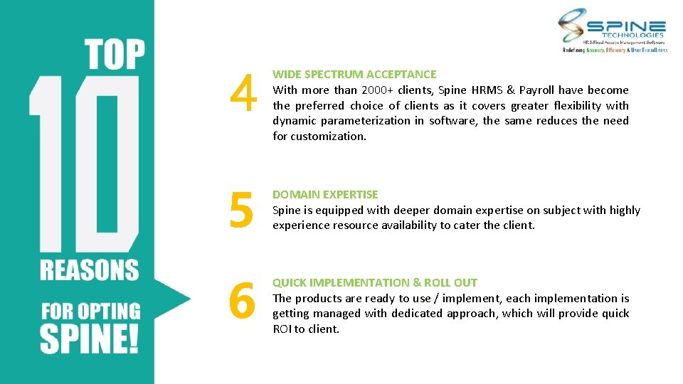 4 5 6 WIDE SPECTRUM ACCEPTANCE With more than 2000+ clients, Spine HRMS &