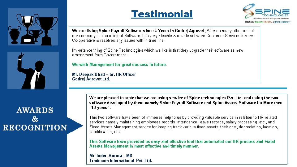 Testimonial We are Using Spine Payroll Software since 4 Years in Godrej Agrovet ,