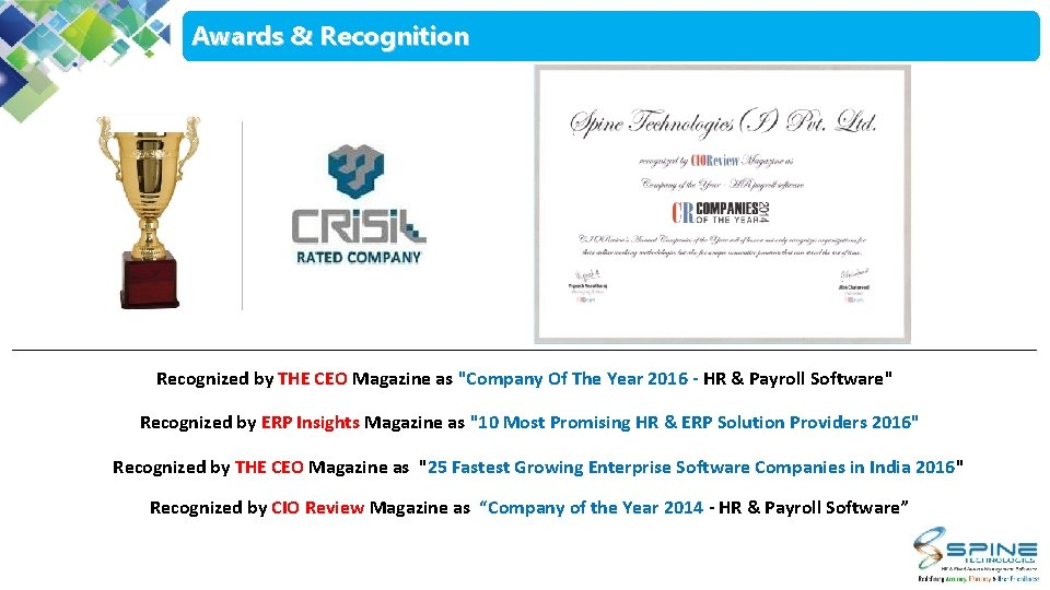 """Awards & Recognition Recognized by THE CEO Magazine as """"Company Of The Year 2016"""