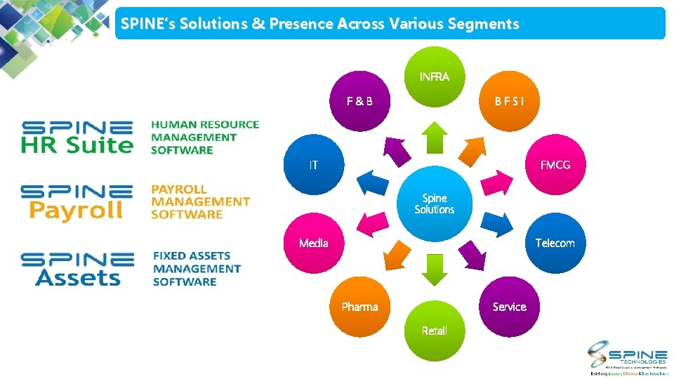 SPINE's Solutions & Presence Across Various Segments INFRA F&B BFSI IT FMCG Spine Solutions