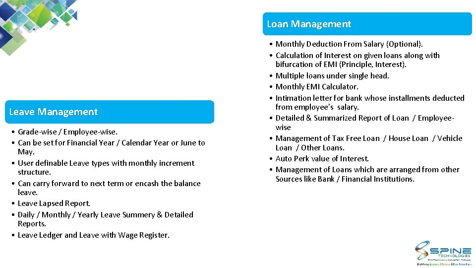 Loan Management Leave Management • Grade-wise / Employee-wise. • Can be set for Financial