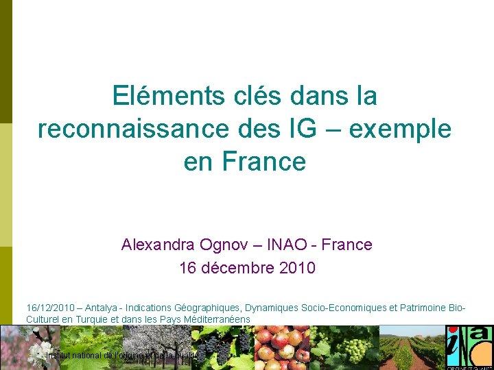 Eléments clés dans la reconnaissance des IG – exemple en France Alexandra Ognov –