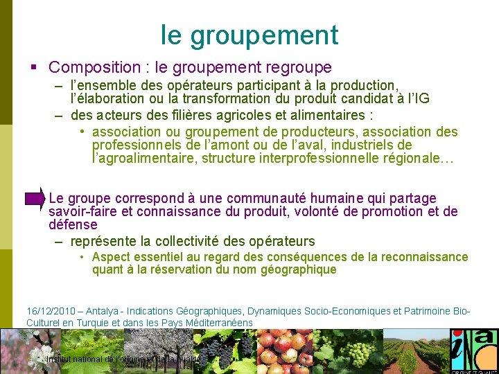 le groupement § Composition : le groupement regroupe – l'ensemble des opérateurs participant à