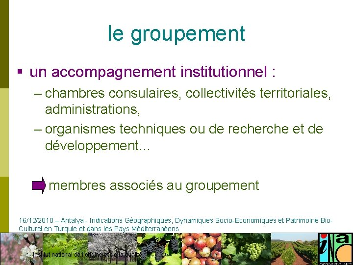 le groupement § un accompagnement institutionnel : – chambres consulaires, collectivités territoriales, administrations, –