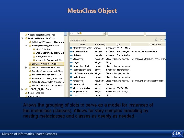 Meta. Class Object Allows the grouping of slots to serve as a model for