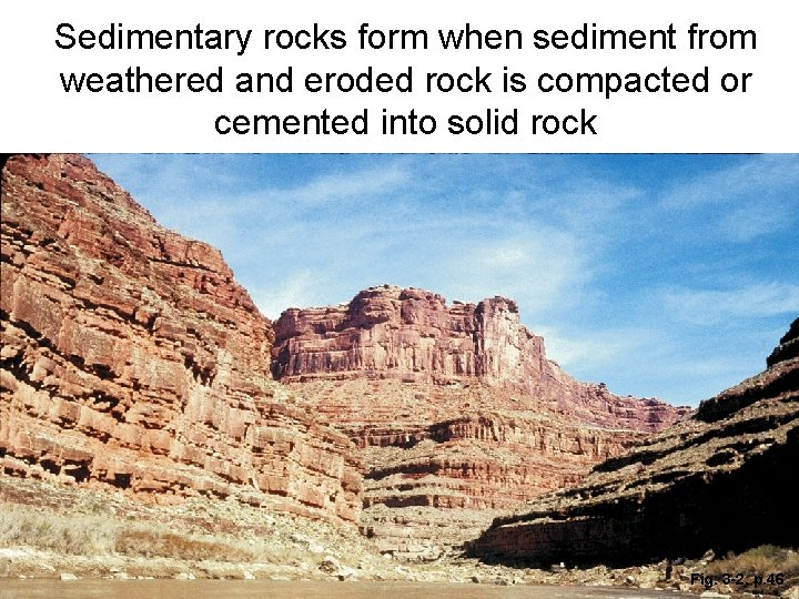 Sedimentary rocks form when sediment from weathered and eroded rock is compacted or cemented