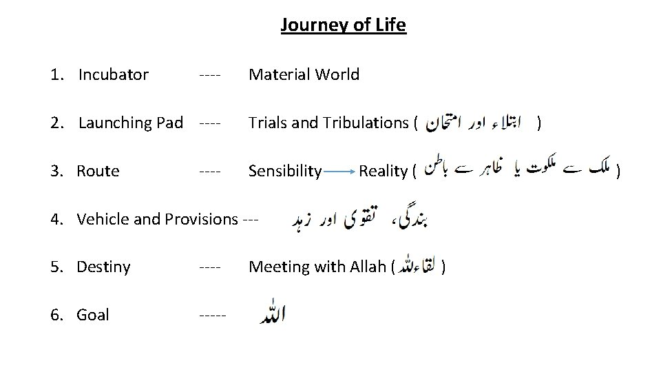 Journey of Life 1. Incubator ---- Material World 2. Launching Pad ---- Trials and