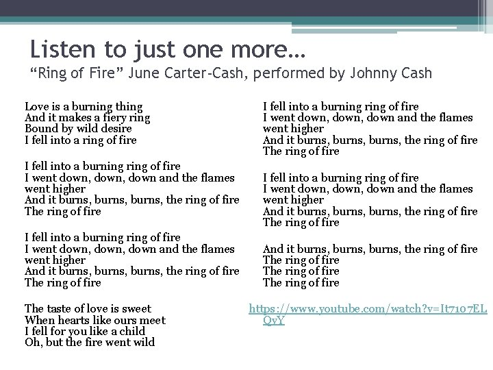 """Listen to just one more… """"Ring of Fire"""" June Carter-Cash, performed by Johnny Cash"""
