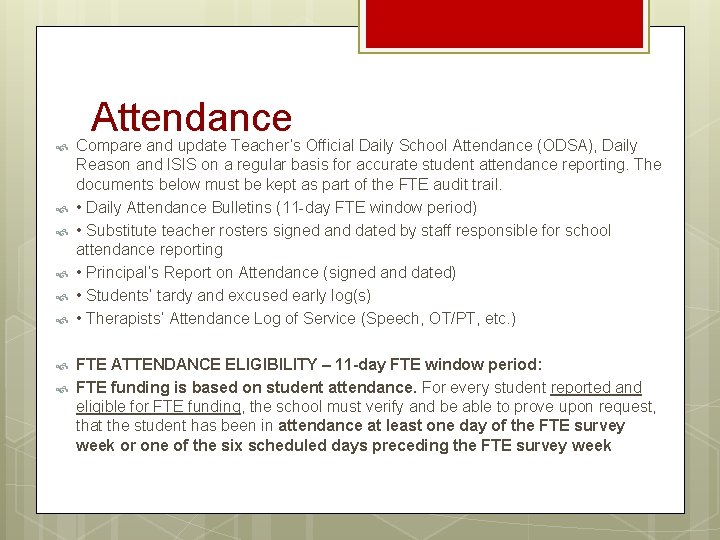 Attendance Compare and update Teacher's Official Daily School Attendance (ODSA), Daily Reason and ISIS