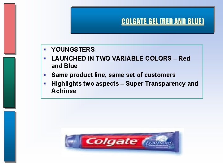 COLGATE GEL (RED AND BLUE) § YOUNGSTERS § LAUNCHED IN TWO VARIABLE COLORS –
