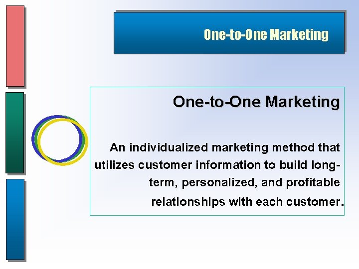 One-to-One Marketing An individualized marketing method that utilizes customer information to build longterm, personalized,