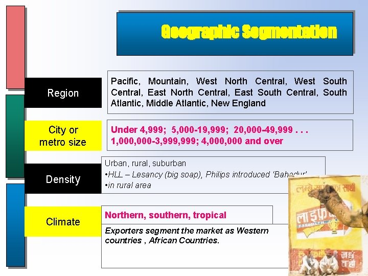 Geographic Segmentation Region City or metro size Density Climate Pacific, Mountain, West North Central,