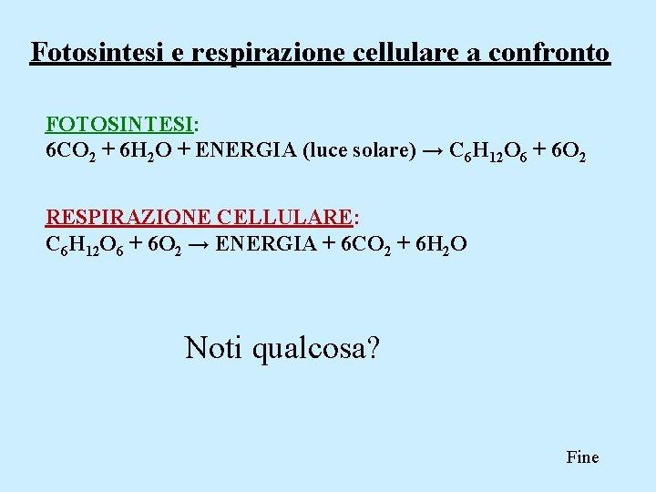 Fotosintesi e respirazione cellulare a confronto FOTOSINTESI: 6 CO 2 + 6 H 2