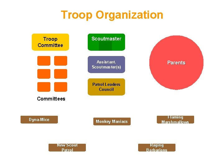 Troop Organization Troop Committee Scoutmaster Assistant. Scoutmaster(s) Parents Patrol Leaders Council Committees Dyna-Mice Monkey