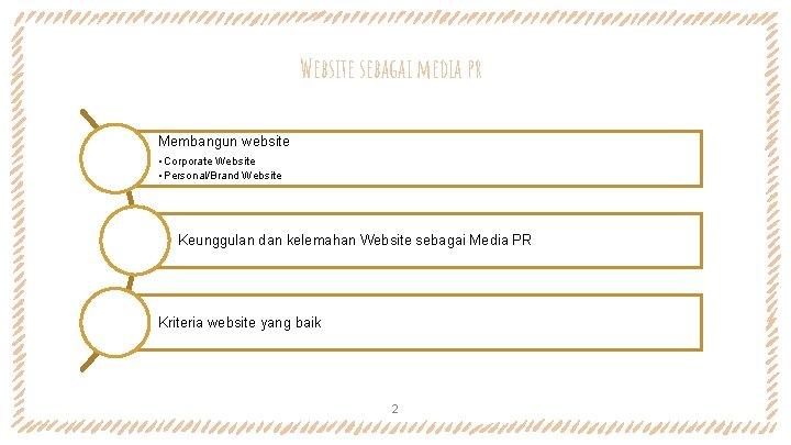 Website sebagai media pr Membangun website • Corporate Website • Personal/Brand Website Keunggulan dan