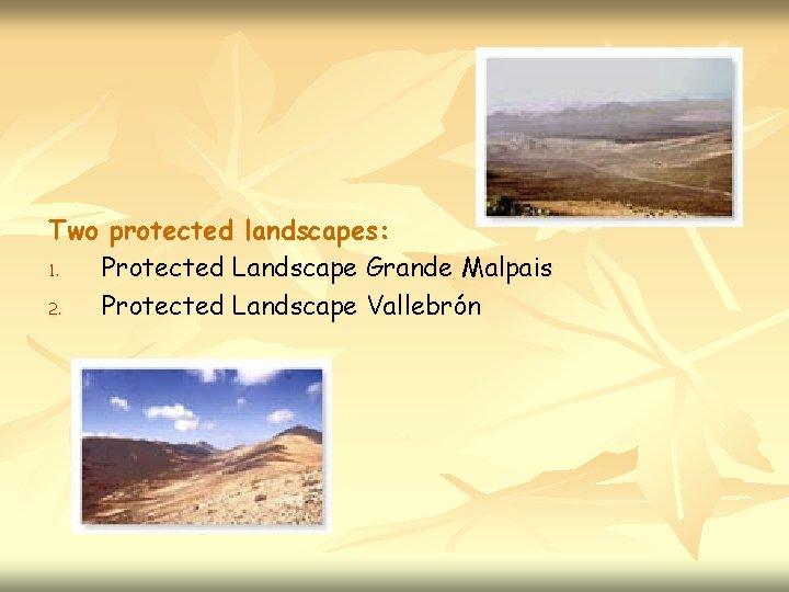 Two protected landscapes: 1. Protected Landscape Grande Malpais 2. Protected Landscape Vallebrón