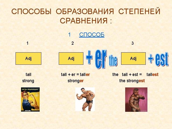 СПОСОБЫ ОБРАЗОВАНИЯ СТЕПЕНЕЙ СРАВНЕНИЯ : 1 1 Adj tall strong СПОСОБ 2 Adj tall