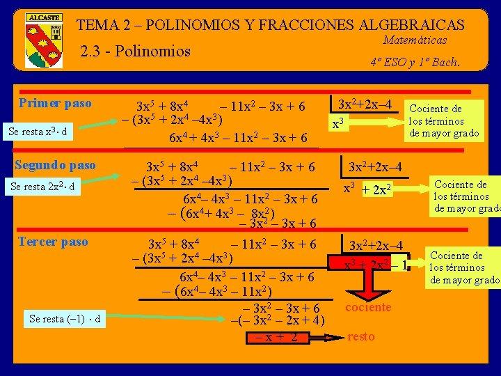 TEMA 2 – POLINOMIOS Y FRACCIONES ALGEBRAICAS 2. 3 - Polinomios Primer paso Se
