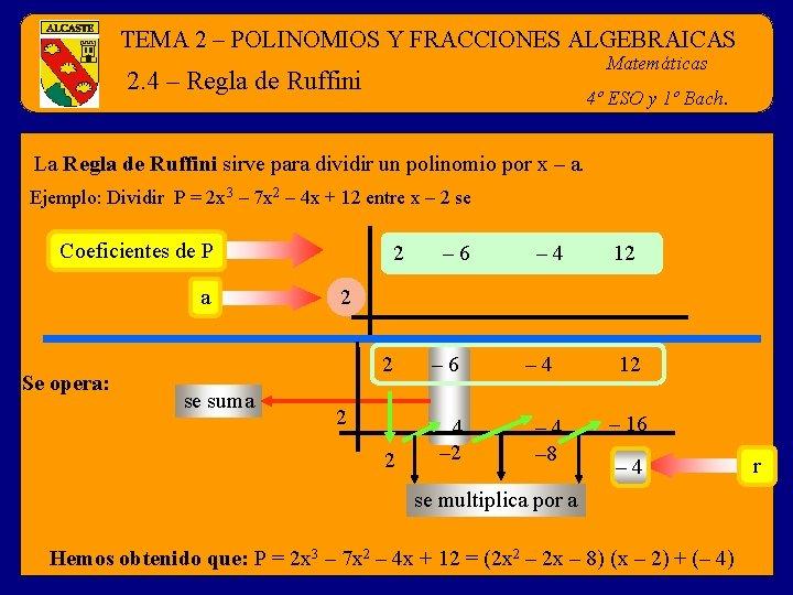 TEMA 2 – POLINOMIOS Y FRACCIONES ALGEBRAICAS Matemáticas 2. 4 – Regla de Ruffini
