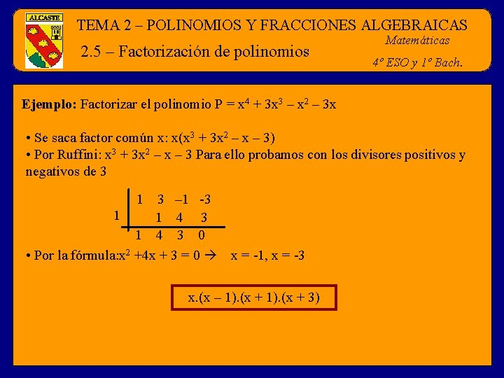 TEMA 2 – POLINOMIOS Y FRACCIONES ALGEBRAICAS 2. 5 – Factorización de polinomios Matemáticas
