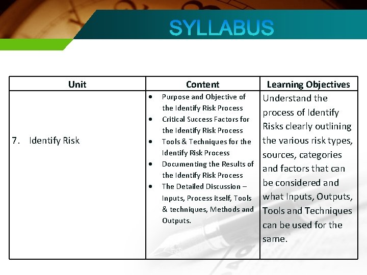 Unit Content 7. Identify Risk Purpose and Objective of the Identify Risk Process Critical