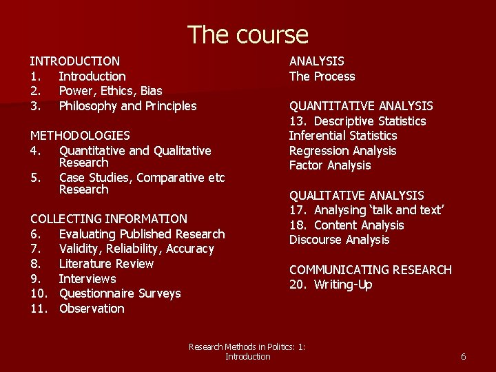 The course INTRODUCTION 1. Introduction 2. Power, Ethics, Bias 3. Philosophy and Principles METHODOLOGIES