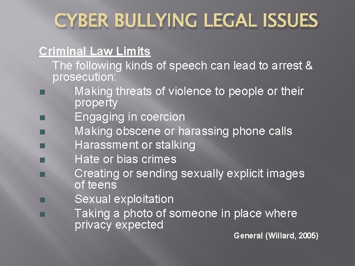 CYBER BULLYING LEGAL ISSUES Criminal Law Limits The following kinds of speech can lead